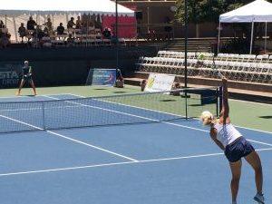 tennis ball being served
