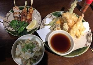 Binchoyaki Set & Tempura