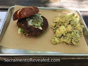 Photo of LowBrau Bierhalle Black Bean Burger & Potato Salad