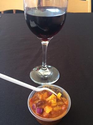 Photo of glass of wine & chili