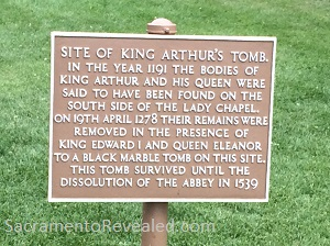 Photo of Glastonbury Abbey Signage - Location of King Arthur Grave