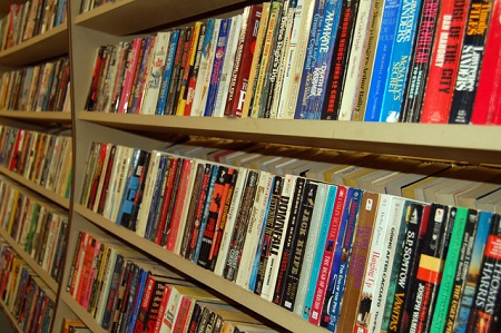 Photo of books on a shelf Sacramento Independent Bookstores